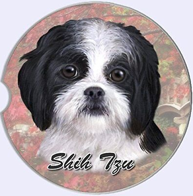 ES Pets Absorbent Stoneware Car Cup Holder Coaster, Black and White Shih Tzu
