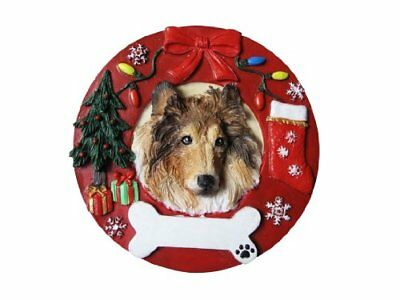 Collie Ornament Personalized and Hand Painted Measures 3.75 Inches Diameter