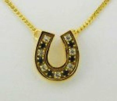 Finishing Touch Crystal Channel Horseshoe Necklace - Jet Black