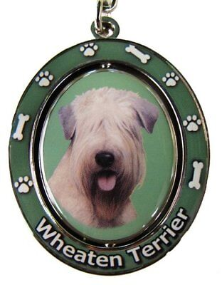 E&S Pets Soft Coated Wheaten Terrier Double Sided Spinning Key Chain, KC-41