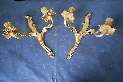 PAIR ANTIQUE French SOLID BRonze WALL Light SCONCES to rewire