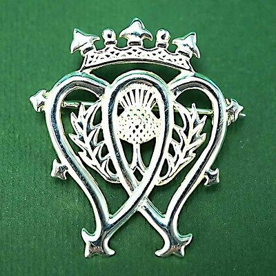 Sterling Silver 925 Scottish Luckenbooth Thistle Brooch Pin Wedding Love Gift