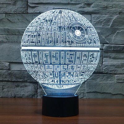 Star Wars Death Star 3D Night Light 7 Color Change LED Desk Lamp Touch Button