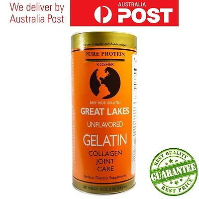 Great Lakes Unflavored Beef Hide Gelatin, Collagen Joint Care 454g