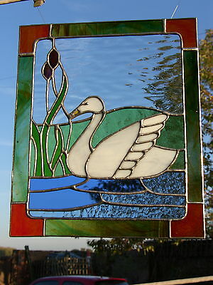 Stained Glass Swan Panel.