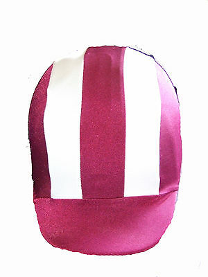 Ecotak custom made 2 colour stripe lycra helmet cover