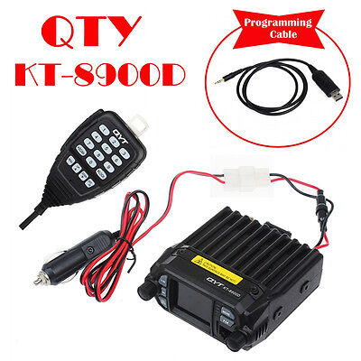 QYT 8900D Dual Band VHF UHF 25W 4-Standy Mobile Radios MIC w/ Programming Cable