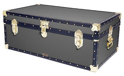 "GREY Traditional British Mossman Made 36"" Steamer Boarding School Luggage Trunk"