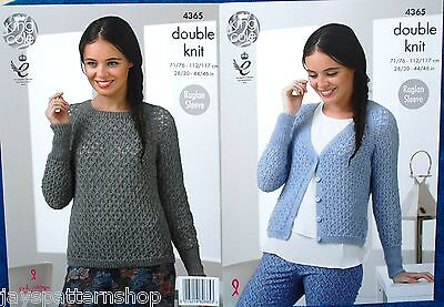 Ladies Double Knit Lacy Cardigan & Sweater Knitting Pattern 28 - 46 Inch