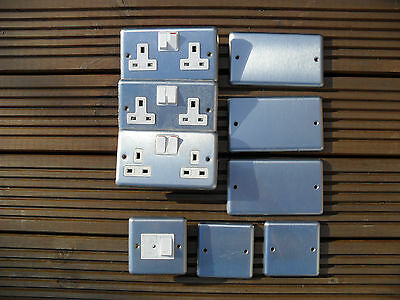 Joblot various brushed stainless steel electrical socket, spur, blank plate,
