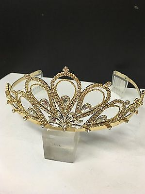 Stunning large princess tiara in gold colour with crystal rhinestones