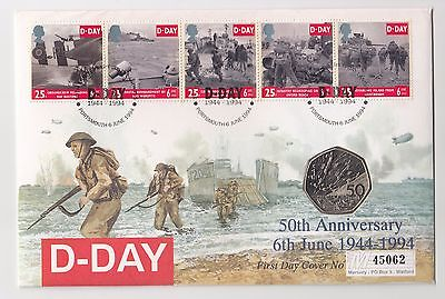 1994 UK D Day Commemorative First Day Cover with 50p Coin