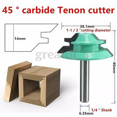 45° Deg 1/4'' Shank 1-1/2'' Dia Lock Miter Router Bits For Woodworking Cutter UK