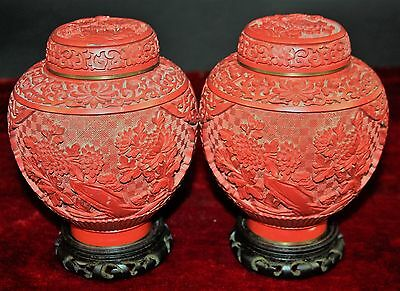 Couple Of Jars. Red Carved Lacquer China. Base Wood. Signed. Circa 1950.