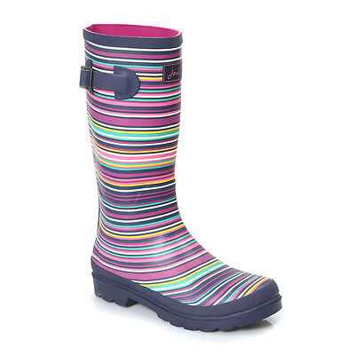 Joules Kids Wellies Rubber Pull On Wellington Boots Junior Multi Stripes Girls