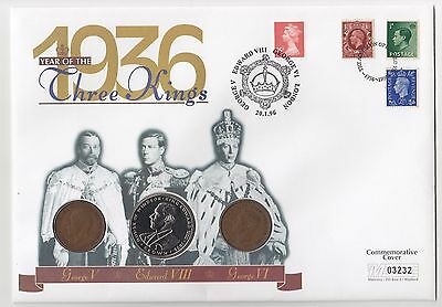 1996 Year of the Three Kings Coin Cover, 3 Coins, 2 Pennies and a Crown