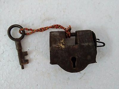 Rare old vintage Handmade unique design iron padlock & 1 key collectible