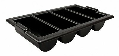 Black Plastic Cutlery Tray 4 Compartment Catering Restaurant Canteens Kitchen