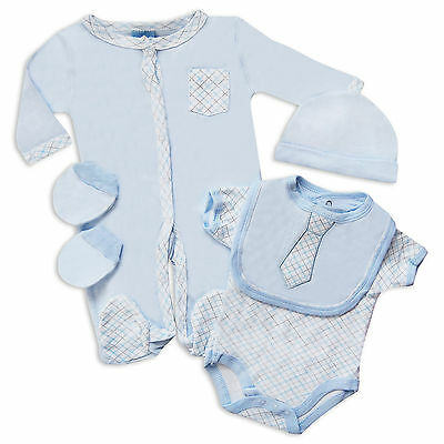 5 piece Blue Layette Baby Boys Set with Shirt & Tie Design/Oufit in Blue/White