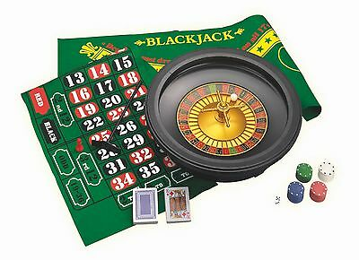 "BIG 16"" BLACK CASINO ROULETTE SET BOX deck playing cards dice chips gambling"