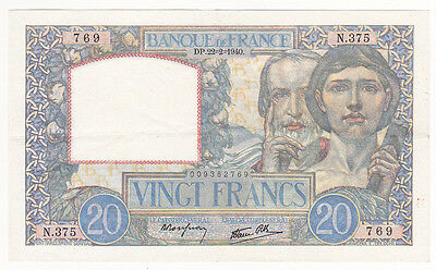FRANCE - billet de 20 FRANCS SCIENCE et TRAVAIL du 22-2-1940 - SUPERBE (2 scan)
