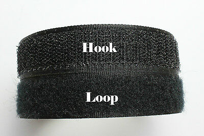 0.5m 20mm Black Hook and Loop Fastening Self Adhesive Sticky Strip Velcro Type