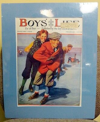 January 1931 Boys Life Magazine Cover Matted Frame