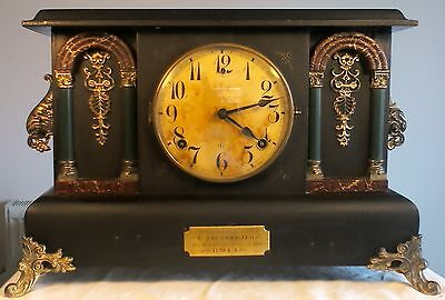 """Military Presentation"" Gilbert Clock Co. USA 1902 Architechural Wooden Case GWO"