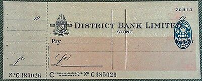 District Bank Limited, Stone Branch unused cheque with counterfoil attached