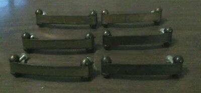 "Vintage Set of 6 Retro Dresser Drawer Pulls 4"" Hardware Rustic Primitive Bronze"