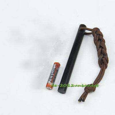 "5""x1/2"" Huge Drilled Ferrocerium Steel Rod Flint Fire Starter with Paracord Lany"