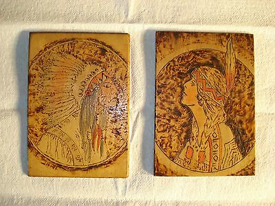 2 Vintage Pyrography Burnt Wood Portraits of Native American Chief and Woman