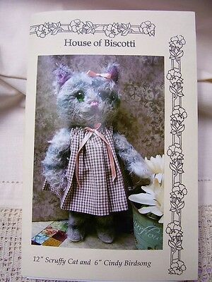 """,12""""   Scruffy Cat and 6"""" Cindy Birdsong, Mohair Cat and Bird Pattern"""