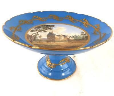 ANTIQUE FRENCH SEVRES STYLE PORCELAIN MEDIUM TAZZA COMPORT LOUIS PHILIPPE f
