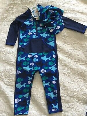 Marks and Spncer Boys Swimming Costume All in One Swimwear with Hat 12-18 months