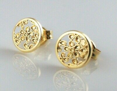 New 9ct Yellow Gold Filigree Round Stud Earrings