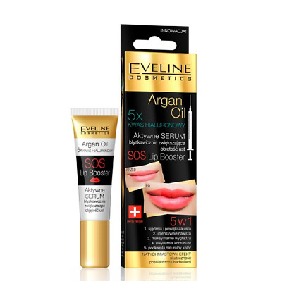 Eveline Argan Oil Sos Lip Booster Plumper Active Serum 5x Hyaluronic Acid