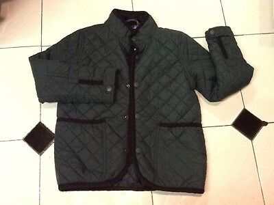 Next Girls Quilted Green Jacket/Coat Aged 8 Years (128cm) With Hood