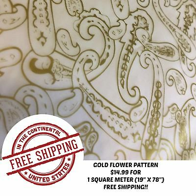 Water Transfer Hydrographic Film Hydro Dip Hydro-Dipping Gold Flower Pattern 1Sq