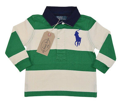 Ralph Lauren Kids Baby Boys Green/White Striped Rugby/Polo Top Age 12m RRP £59