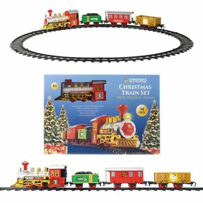 14 Pc Christmas Deluxe Xmas Toy Gift Train Set With Realistic Sound Light