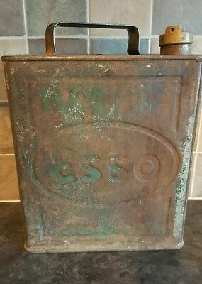 VINTAGE 1930s ESSO Metal Fuel Can with Brass Screw Lid