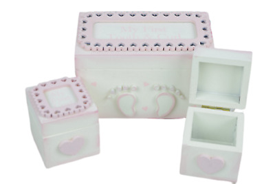 Shabby Chic Tooth & Curl Boxes Pink Baby Girl Christening Nursery Decor F1719A