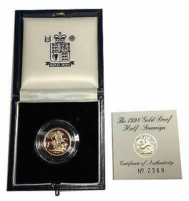 1998 Gold Proof HALF Sovereign Boxed with Certificate