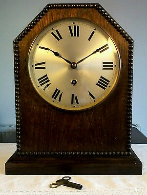 "Antique ""Tombstone"" Shape Oak Cased Pendulem Mantle Clock with Beaded Edge GWO"