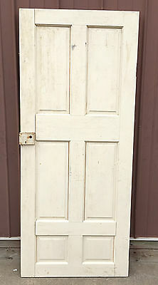 "Antique VTG OFF WHITE Solid Wood 6 Panel SALVAGE DOOR Garden 75.25"" x 32"" Crafts"