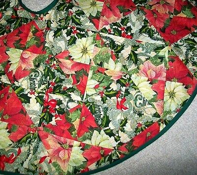 """Christmas Poinsettia and Holly Patchwork Tree Skirt 41"""" Diameter Unique OOAK"""