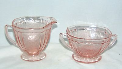 Anchor Hocking MAYFAIR/OPEN ROSE PINK *FOOTED CREAMER & SUGAR*