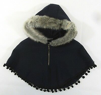 Babies Kids Girls Faux Fur Bolero Pompom Poncho Red Riding Hood Cape Zip 9 M-4 Y