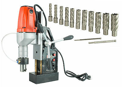 "SDT MD40 Electric Magnetic Drill Press with 13 PC 2"""""" HSS Annular Cutter Kit"